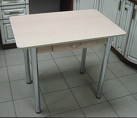 Стол Прямоугольный с ящиком (ножки хром, цвет: дуб белёный) - 2700 рублей