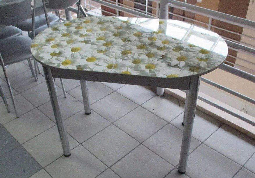Стол раскладной Овальный (ножки хром, фотопечать: ромашки, ракушки, киви) - 5600 рублей