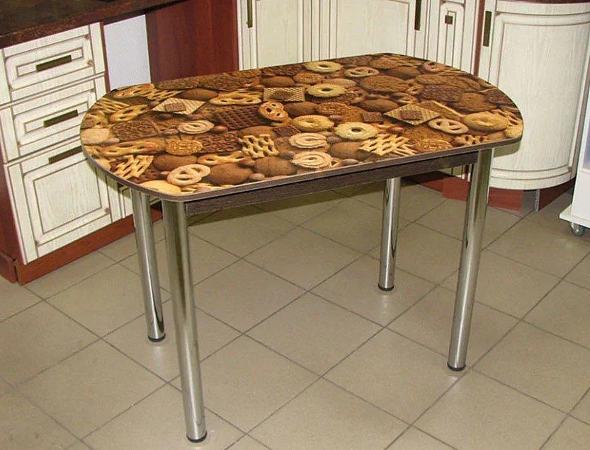 Стол Европейский (ножки хром, фотопечать: печеньки) - 4500 рублей