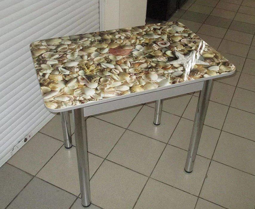 Стол Прямоугольный (ножки хром, фотопечать: ромашки, ракушки) - 3700 рублей