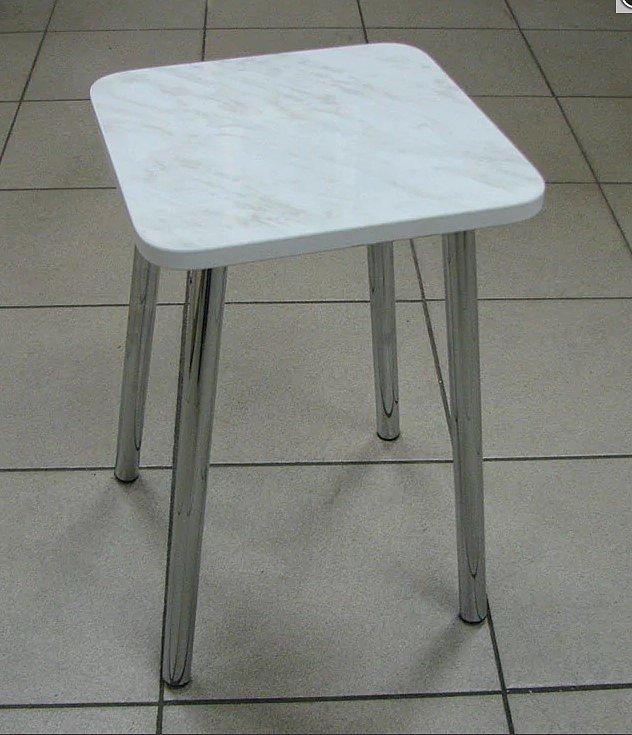 Табурет пластик (ножки хром, цвет: белый) - 1800 рублей за 2 шт.