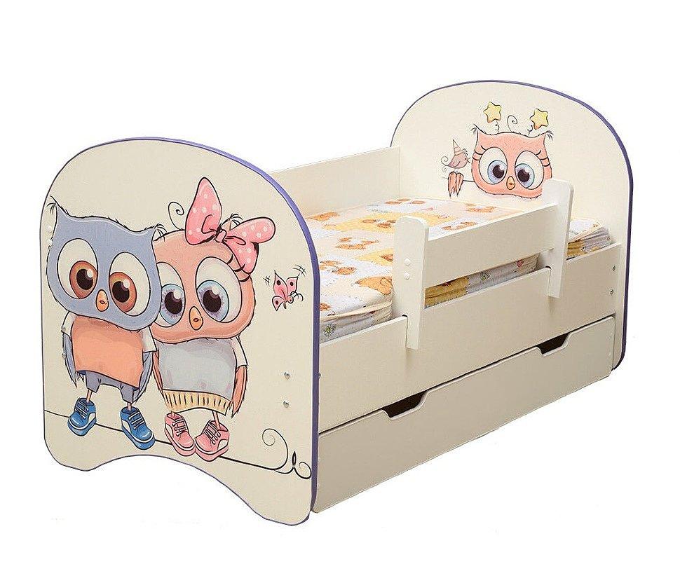 Кровать детская с фотопечатью и ящиком Совята