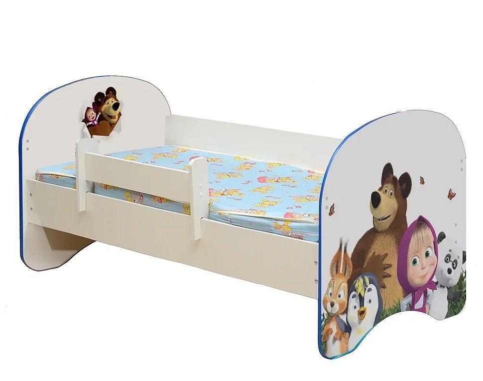 Кровать детская с фотопечатью Маша и Медведь