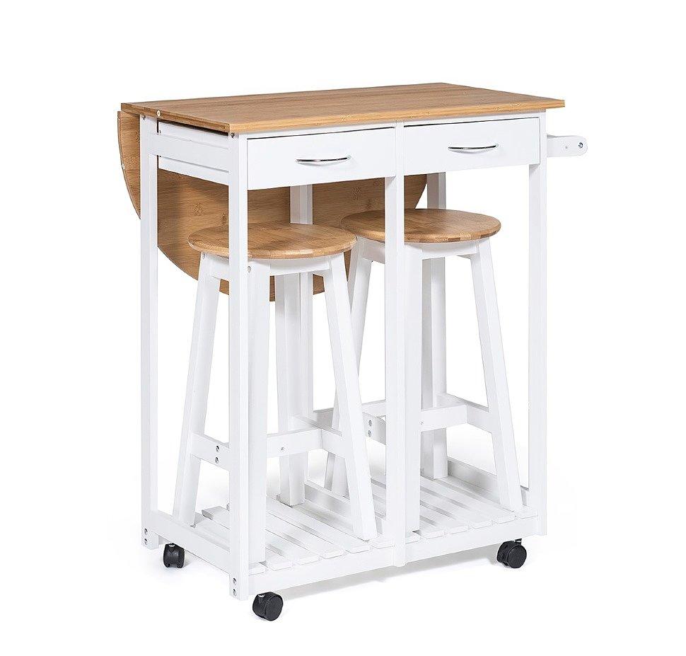 Стол кухонный передвижной с 2 табуретами Экостиль JW3-2065А