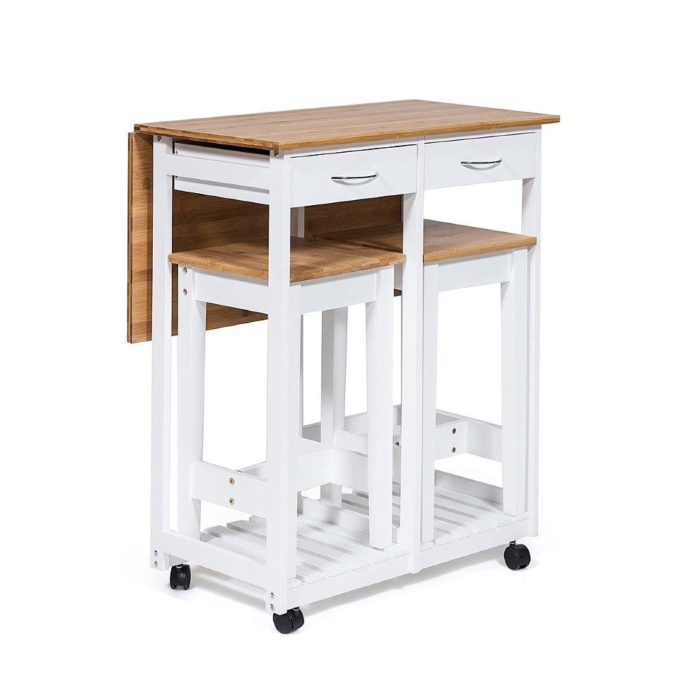 Стол кухонный передвижной с 2 табуретами Экостиль JWPE-120809