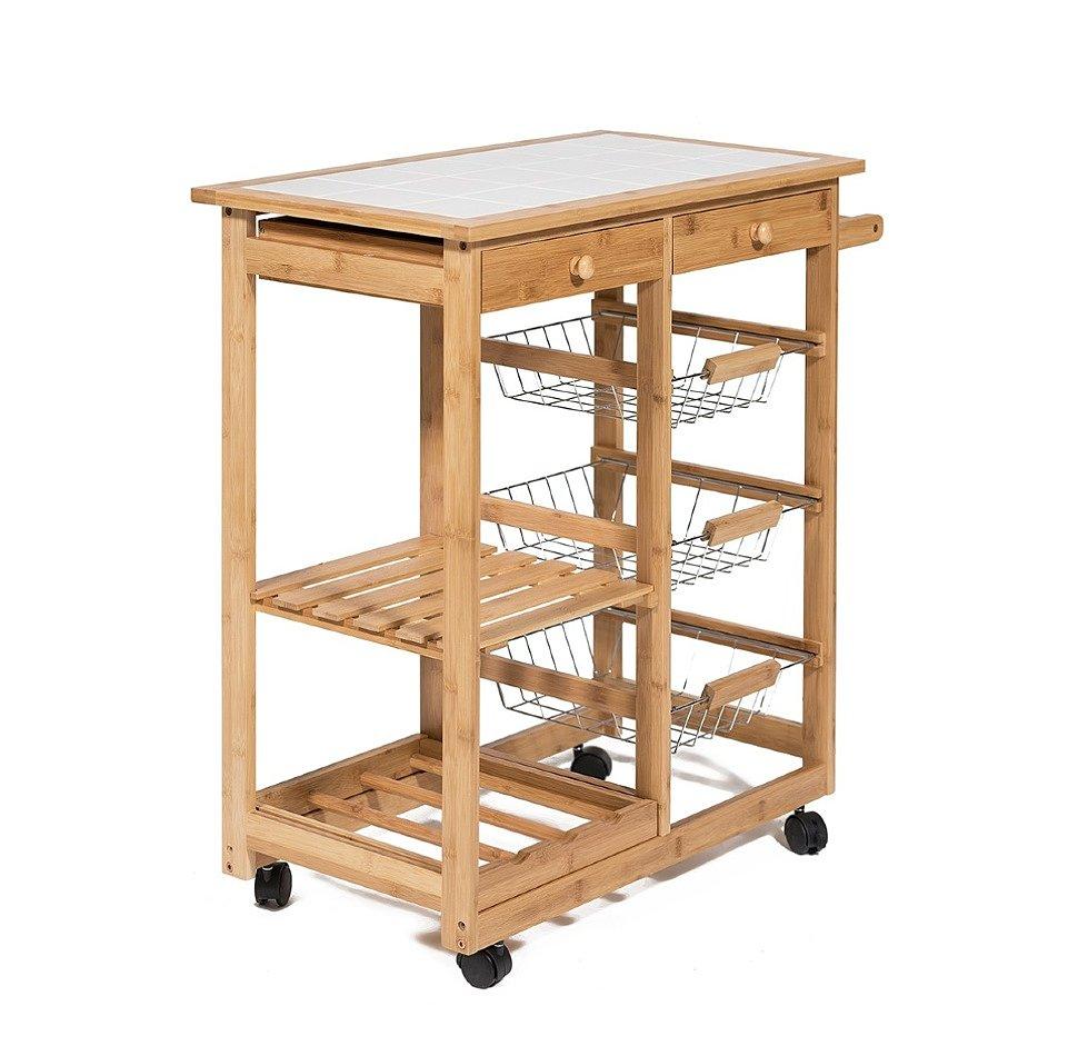 Стол кухонный передвижной разделочный Экостиль JW3-2063